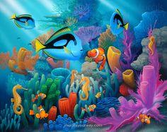 Asian undersea-themed nursery wall mural idea - undersea scene 1
