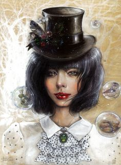 Tanya Shatseva. #art #painting #canvas #acrylic #tophat #hat #girl #redlips #pout #cute #sexy #hair #fantasy #surreal #surrealism #forest #bubble