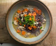 We use King Soba gluten-free sweet potato and buckwheat noodles to make a great, quick chicken soup. A delicious way to stave off that January cold. Bowl Of Soup, Soup And Salad, Gluten Free Cooking, Gluten Free Recipes, King Soba Noodles, Soba Recipe, Buckwheat Noodles, Gluten Free Noodles, Sweet Potato Noodles