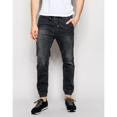 Diesel Jog Jeans Duff 662U Cuffed Tapered Fit Stretch Grey Wash (1,555 EGP) ❤ liked on Polyvore featuring men's fashion, men's clothing, grey, diesel mens clothing and tall mens clothing