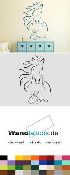 Wandtattoo Wildes Pferd mit Wunschname als Idee zur individuellen Wandgestaltung. Einfach Lieblingsfarbe und Größe auswählen. Weitere kreative Anregungen von Wandtattoos.de hier entdecken!