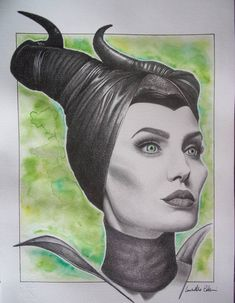 Original Pop Culture/Celebrity Drawing by Luisella Colucci | Portraiture Art on Paper | Maleficent