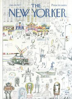 The New Yorker - Saturday, January 16, 1971 - Issue # 2396 - Vol. 46 - N° 48 - Cover by : Saul Steinberg