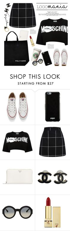"""""""logomania"""" by jesuisunlapin ❤ liked on Polyvore featuring Converse, Givenchy, Moschino, Prada, Chanel, Gucci, Yves Saint Laurent and Sam Edelman"""