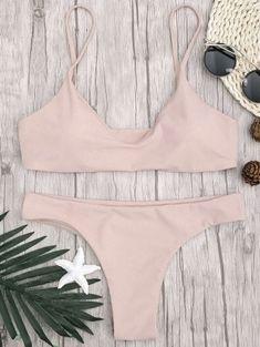 60b2ba80ad9e76 Adjustable Straps Padded Bralette Bikini Set - Pink Padded Bralette