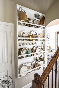 Does you house lack built in charm? Add your own with this diy built in plate rack tutorial. You will learn how to build a wall plate rack and how to decorate a plate rack for vintage style charm and a cozy home. Plate Racks In Kitchen, Plate Rack Wall, Diy Plate Rack, Plate Shelves, Plate Storage, Kitchen Display, Plates On Wall, Kitchen Storage, Kitchen Decor