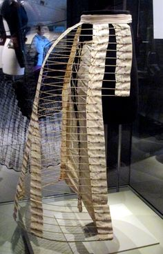 "1887 Canadian Crinoline Bustle at the Royal Ontario Museum,Toronto - From the curators' comments: ""The crinoline was suspended from the waist, over a corset and under the petticoats of the dress or skirt. Bustles were modern industrial inventions. This one is composed of 35 covered semi-circular hoops that are grommetted into place on strong twill woven tapes."""