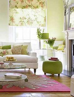 image detail for -juxtapost - teal with lime green living room