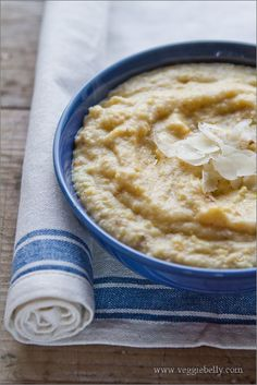 Creamy Polenta  --  Roasted zuccinni, onions and cherry tomatoes on the side. Served plain, needs a sauce of some kind. Yum!