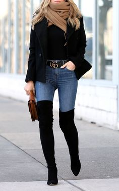Winter Style: Stuart Weitzman All Legs Over the Knee boots and Gucci Belt Ladies over the knee boots women