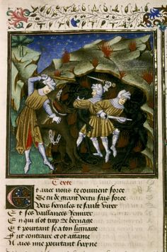 """French illumination by 'The Master of Sir John Fastolf' in Epitre d'Othea, 1450. """"Three armoured and armed figures in the underworld: left, Hercules with club, wearing lion's skin over his armour fighting against the dog Cerberus chained at the gate of Hades; among the red flames of Hell are Theseus and Pirotheus with swords fighting with two black devils"""""""