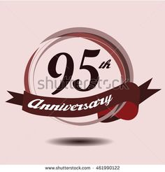 95th anniversary logo with circle composition soft chocolate color and ribbon