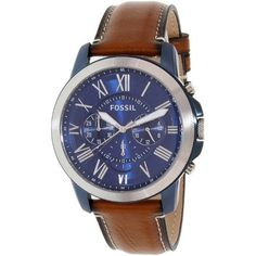 Fossil Men's FS5151 Grant Chronograph Blue Dial Brown Leather Watch