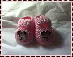 Minnie Mouse Baby Mary Jane Slippers Booties Handmade Crochet Newborn by HaldaneCreations on Etsy