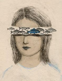 blue - woman and fishes - Ofra Amit