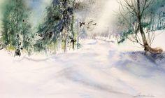 Neige - Peinture ©2008 par Reine-Marie PiNCHON -                            Peinture contemporaine, neige hiver balade