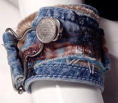 Recycled Denim Fabric cuff bracelet at Denim Bracelet, Fabric Bracelets, Bracelet Cuir, Cuff Bracelets, Jewelry Crafts, Jewelry Art, Handmade Jewelry, Jewlery, Handmade Leather