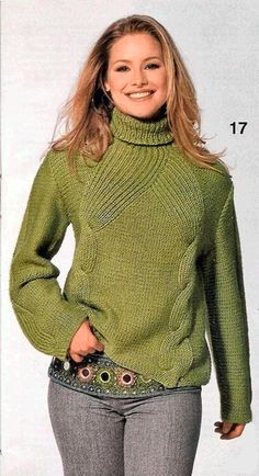 Стильный зелёный свитер спицы схема