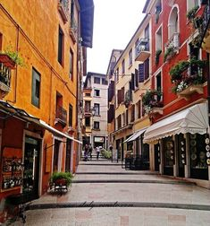 The pedestrianized streets of the old town in one of Veneto's loveliest towns. This is Bassano del Grappa.