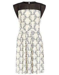 Printed Sheer Yoke Dress