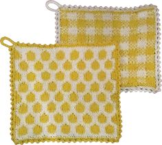 Ravelry: Easter Potholders pattern by Elisabeth Viking Potholder Patterns, Crochet Amigurumi Free Patterns, Crochet Potholders, Knit Dishcloth, Knitting Stitches, Knitting Patterns, Knitting Charts, Spa Items, Crochet Needles
