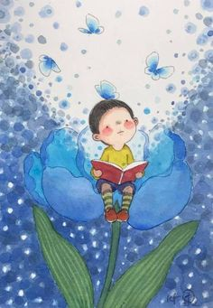 LecturImatges: reading in images LecturImatges: la lectura en imatges Reading lights up your imagination (illustration by Lee Kow Fong) Art And Illustration, Character Illustration, Watercolor Illustration, Illustrations, Kids Watercolor, Cute Cartoon Wallpapers, Drawing For Kids, Book Photography, Cute Drawings