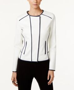INC International Concepts Faux-Leather-Trim Moto Jacket, Only at Macy's | macys.com
