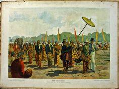 Het oogstfeest : Optocht van den Sultan met de Resident te Djokjakarta, oude schoolplaten, indie, bali, indonesia