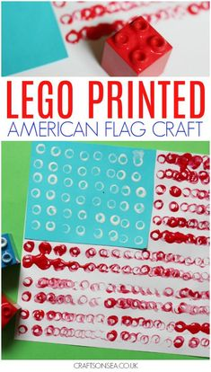 Want an easy July craft that's quick to set up? This lego printed American flag craft is super simple and uses materials that you're likely to own already - the perfect no-hassle craft! 4th July Crafts, Patriotic Crafts, Patriotic Party, Crafts For 2 Year Olds, Summer Crafts For Kids, Toddler Crafts, Preschool Crafts, Kids Crafts, Preschool Ideas