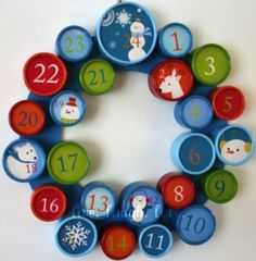 Advent Calendar wreath!  This one is from Target, but I think I could make my own!  What a good idea!!!  Little boxes to open!