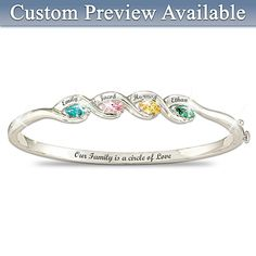 Our Family Is A Circle of Love Personalized Bracelet......want this in a ring.