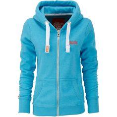 Superdry Orange label zip hoodie ($71) ❤ liked on Polyvore featuring tops, hoodies, jackets, outerwear, sweaters, blue, women, blue hoodie, orange hooded sweatshirt and sweatshirt hoodies