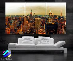 LARGE 30x 60 3 Panels Art Canvas Print Beautiful view by BoxColors