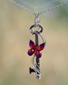 Antique Skeleton Key Butterfly Necklace wire by JewelryFusion, $45.00