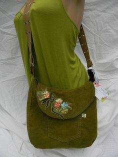 brown and green reversible bag by mermaiddesignsstore on Etsy, $32.00