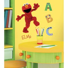 Become a part of Elmo's world with our Elmo Wall Decals! With pieces to build a large Elmo, a small Elmo, letters and more, Elmo Wall Decals add fun to your walls. Disney Wall Decals, Kids Wall Decals, Wall Stickers Room, Kids Stickers, Sesame Street Room, Do It Yourself Design, Cartoon Wall, Elmo Birthday, Birthday Ideas