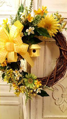 Floral Birdhouse Wreath