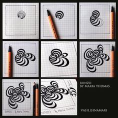 Bunzo - Step by Step Zentangle Pattern Tangle Doodle, Tangle Art, Zen Doodle, Doodle Art, Zentangle Drawings, Doodles Zentangles, Doodle Drawings, Doodle Inspiration, Doodle Patterns