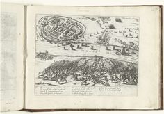 Frans Hogenberg | Beleg van Grave door Parma, 1586, Frans Hogenberg, 1586 - 1588 | Beleg van Grave door het leger van de hertog Parma, 12 mei 1586. Op de voorgrond gevechten tussen Spanjaarden de Engelse ruiters van de graaf van Leicester. Met onderschrift van 10 regels in het Duits. Genummerd: 96.