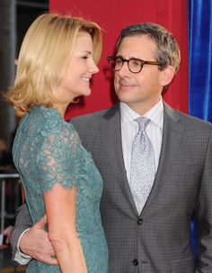 Steve Carell looked at his wife Nancy lovingly on the red carpet at the Burt Wonderstone premiere in LA.