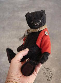 Arimis 9 Black Mohair Artist Teddy Bear by Aerlinn