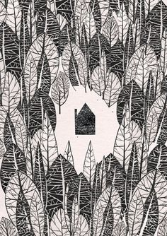 In the Woods illustration print van JustineHowlett