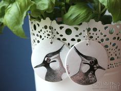 Earrings with lapwings- male and female- made for order. When I' m painting everytime each one earring in pair is different! ...because it' s boring for me to paint the same!