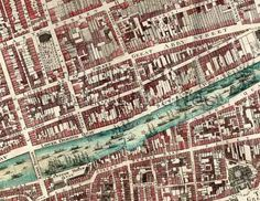 Section of Rocque's Map of Dublin City. Title: John Rocque, An exact survey of the city and the suburbs of Dublin Year: 1756 Dublin Map, Dublin City, Ireland Pictures, Old Pictures, City Library, Old Maps, Medieval Town, Vintage Maps, City Maps