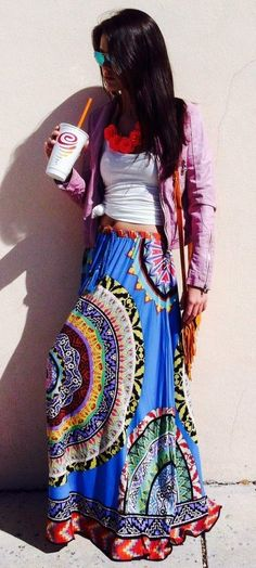 Mix Nouveau Coral & Fuchsia Paisley Maxi Skirt | Maxi skirts ...