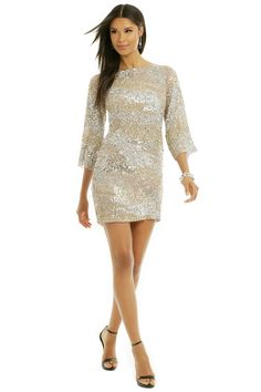 Sparkely bachelorette night out dress | Vie la V Sprinkle the Sequins Shift | Rent the Runway