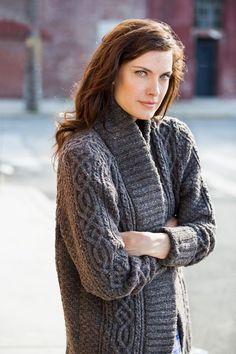 "Rowe cabled sweater coat by Michele Wang. From Brooklyn Tweed's ""Fall14"" Collection. Photographed by Jared Flood."