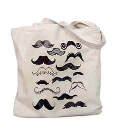 Canvas Tote Bag - Mustache Collection Print on a Natural Canvas Bag. $12.00, via Etsy.