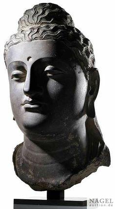 A fine over-life size bust of Buddha Shakyamuni,Gandhara region, Buddha Artwork, Buddha Painting, Buddha Sculpture, Sculpture Art, Religious Icons, Religious Art, Buddha India, Chinese Buddha, Buddha Temple