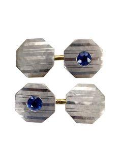 Blue Sapphire, Platinum and 14kt Gold Art Deco Cufflinks
